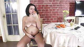 Knocked-Up Nina Plays with Her Hairy Pussy!