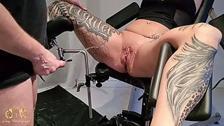 Piss session on the gyno chair
