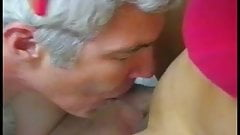 Old man slides fingers inside hot shemales asshole and sucks her cock