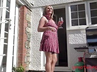 Upskirt stocking blonde Lockdown bbq