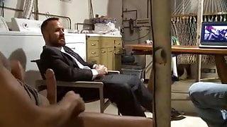 Four straight men watching porn