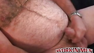 Big belly homo smoking and jerking off before a jizz blast