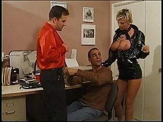 Corset strapon fucked - Leather-corseted blonde and toned dude suck dudes cock together then fucks