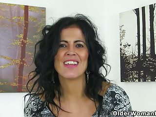 Mature with nylons - Spanish milf montse swinger fucks nyloned cunt with dildo