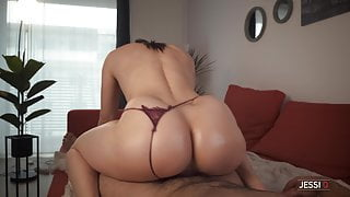Hold your cum as I oil massage your cock and ride it hard