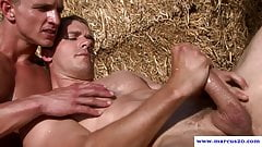 Straight hunk dicksucking with jock outdoors