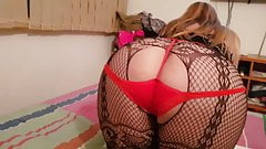 Bodystockig and red panties