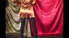 CD Teasing In Hot Gold Liquid Satin Dress