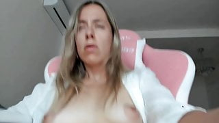 European Blonde plays with hairy pussy using magic wand
