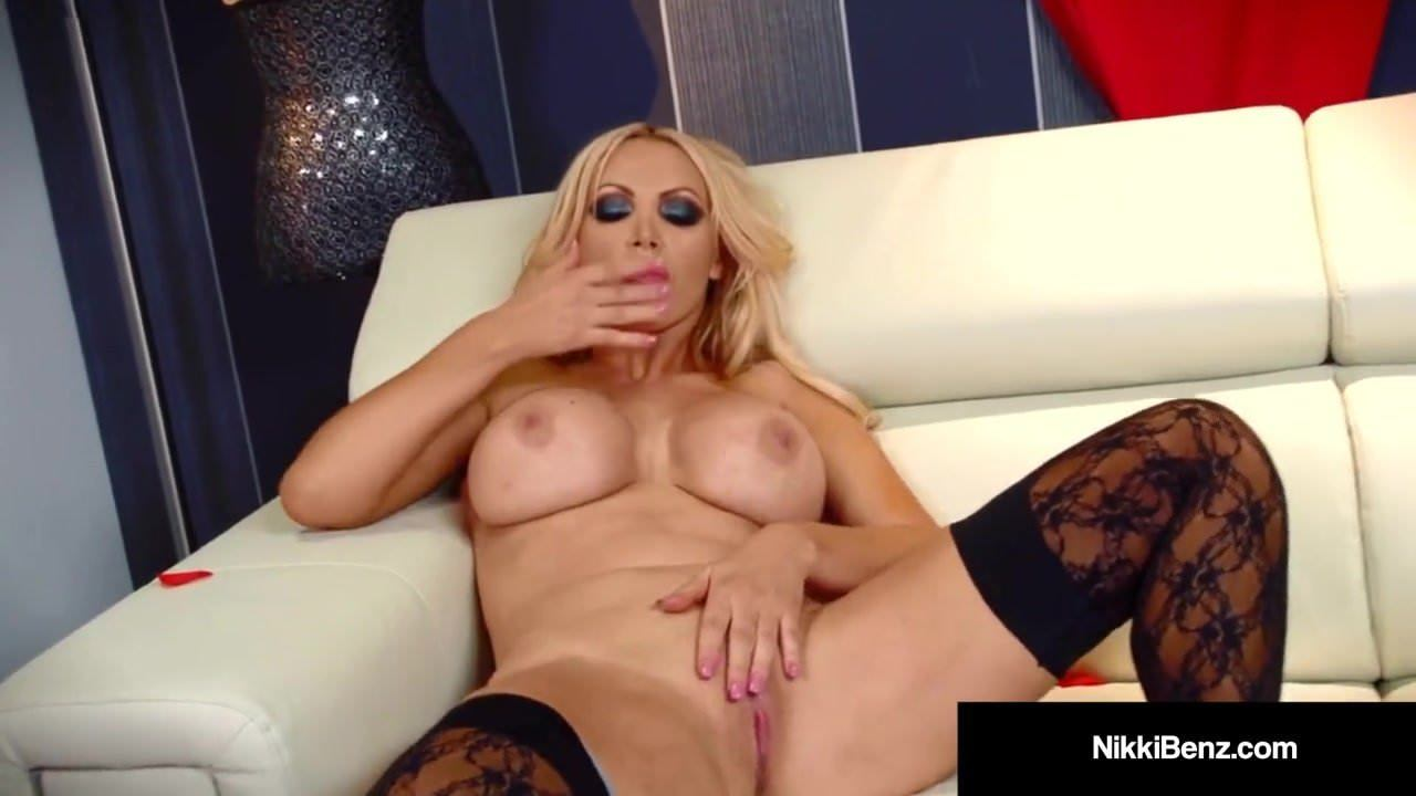 Busty Blonde Nikki Benz Strips Finger Fucks Her Wet