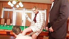 Threesome on the pool table