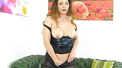British milf Gemma Gold can't ignore her pantyhosed fanny