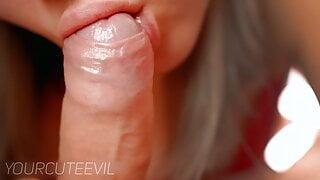 Slow romantic blowjob and tongue play, licking frenulum