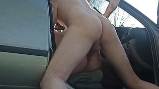Dogging wife fucks in car with stranger from dating site