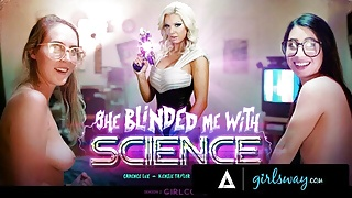 GIRLSWAY Nerdy Girls Have Their First 3Way With Virtual MILF