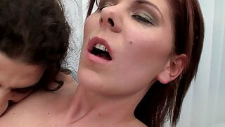 Skinny girls eat cum after a hard fuck by huge cock