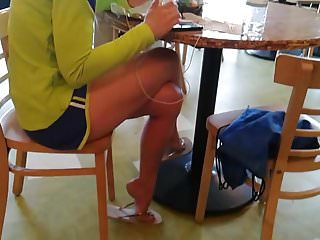 Dog licks athletes foot - Leggy athletic brunette shows her feet