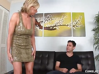Key to handjobs Milf strokes young cock to get her car keys