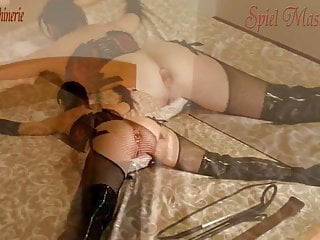 Vintage snowmobile belts - Hard whipping belting spread eagle plugged and gagged slut
