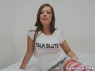 Busty teenager Beautiful busty teenager puss fucks dildo