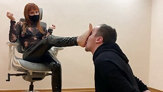 Slave Kneels In Front of Kira and Serves Here Foot