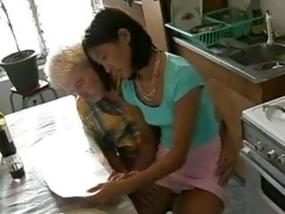 Mature old asian Old man washing his korean student...f70