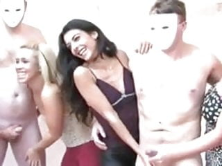 Mmf studs cum Cfnm sluts team up to make studs cum from wanking