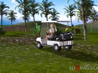 Nude golf course - Black man fucks hard a hot teen blonde on a golf course