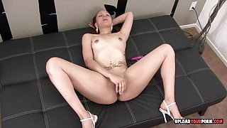 Small tits babe with great legs is masturbating