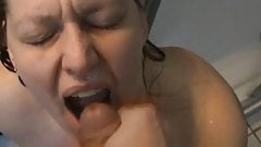 Housewife swallows cum, real homemade