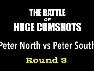 3 girls round a cock - Peter north vs peter south round 3 battle of huge cumshots