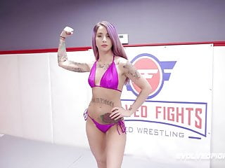 Sex fight with dildoes Sheena rose vs juliette march in rough wrestling sex fight