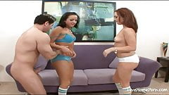 Two hot girls are sharing his hard pecker.mp4