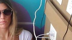 lovely busty girl voyeur in train