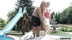 MILF enjoys big dick near the pool