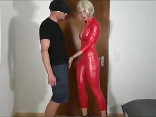 Girl in red latex and men Blonde slut ass fucked in red latex cat suit