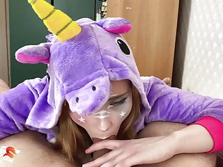 Erotic unicorn fairy print Unicorn babe suck and hardcore sex dick - cosplay