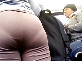 Sexy panty line Big ass in brown leggings showing deep panty line