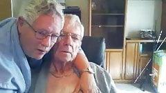 Two grandpas cuddling, kissing and loving - no hardcore