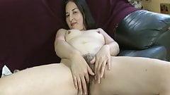 Half Asian Girl showing her hairy beaver