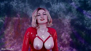 Female domination free porn video in latex: JOI for girls