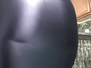 Sexy slips Her sexy pantyhose ass looks good in tight shiny body slip