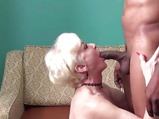 Old lady cum lovers - Blonde mature lady makes love to her younger black lover