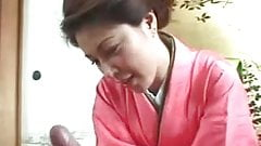 Uncensored Japanese MILF geisha cock masturbation
