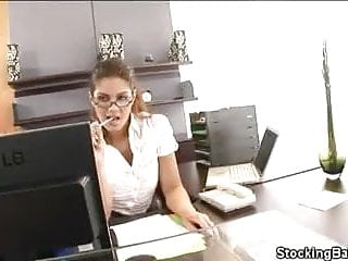 Hot mature babes in stockings - Stocking clad secretary shagged