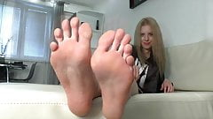 Blonde Girl Sexy Big Soles and Long Toes (Size 9.5 US)