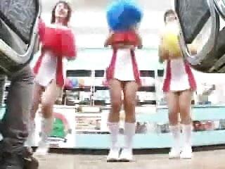 Upskirt pantyless video - 3 pantyless jap cheerleaders