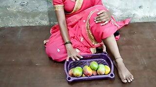 Desi bhabhi  selling a mango and fucking a Sellar uncle