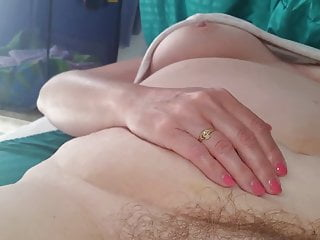 Relieving vaginal burning Her hairy pussy as she relieves my small cock,handjob