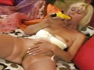 Useing a dildo Granny uses a dildo and then gets a cock